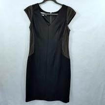 Maggy London Black Slimming Dress Cap Sleeve V Neck Size 12 NEW - $43.00
