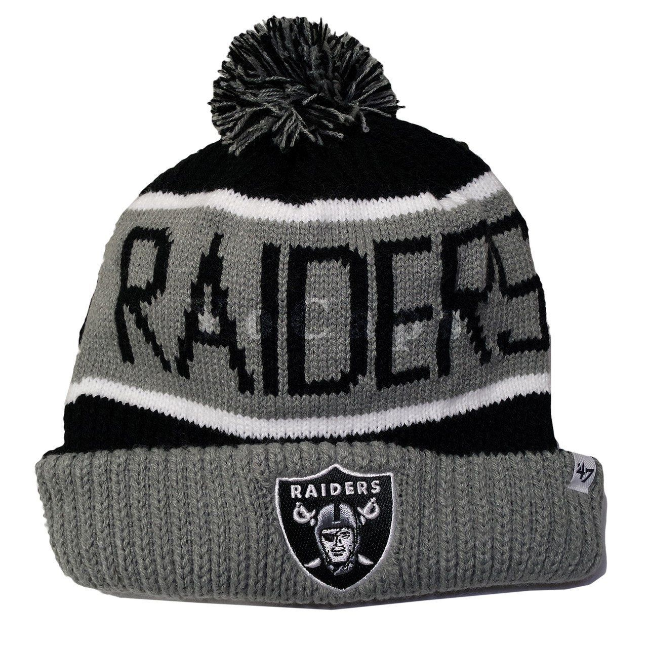 47Brand NFL Oakland Raiders Logo Team Stripe Cuffed Knit Beanie Cap with Pom