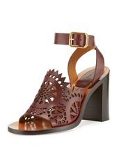 Chloe Kelby Crocheted Leather Block-Heel Sandal, Bordeaux $815 Size 38 - $408.00