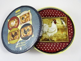 Sakura Retro Rooster Set 4 Stoneware Salad Dessert Plates Kimberly Polos... - $42.65