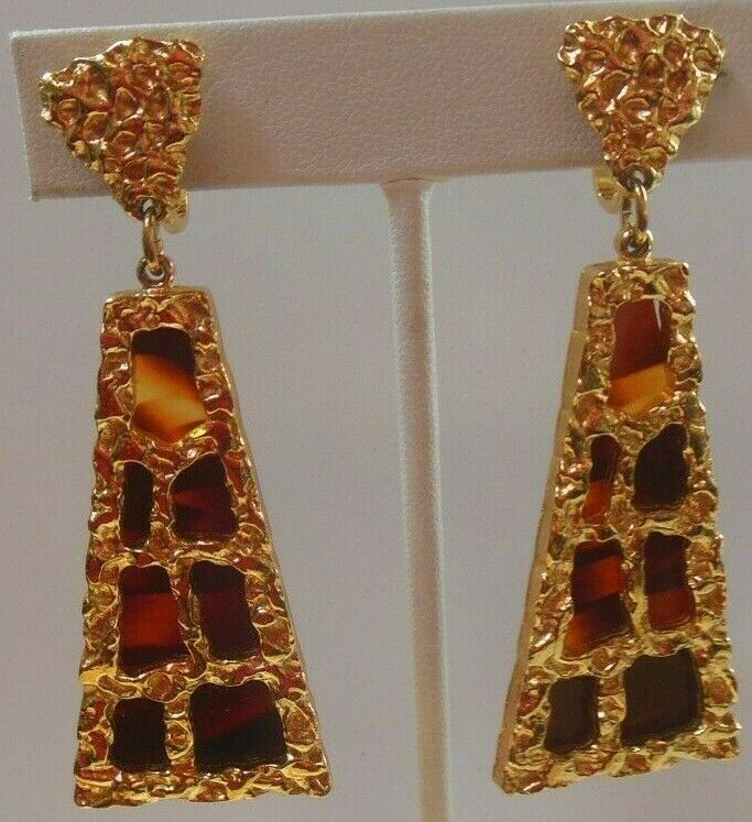 Primary image for Vintage CROWN TRIFARI Jonathan Bailey Dangle Clip-on Earrings