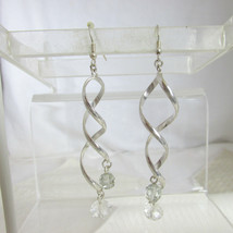 "Vintage 2.5"" Long Fired Glass Beads Twisted Dangling Earrings Wires Silv... - $10.80"