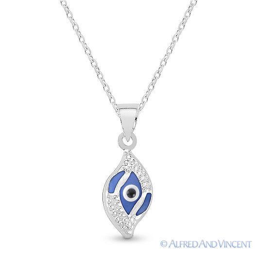 Evil Eye Glass Bead Greek Turkish Nazar Hamsa Pendant Sterling Silver Necklace image 3