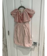 Zaza Girls Pink Short Sleeve Dress Shawl Top And Bow Size 5 - $9.58