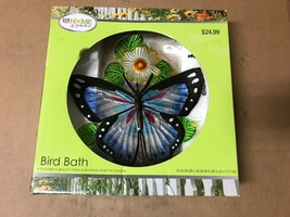 Rite Aid Home & Garden Butterfly Themed Bird Bath W/Ground Stake & Metal... - $29.69