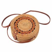 Rattan Boho Purse Handwoven Straw Bag floral flower snap - $29.89