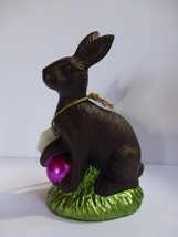 """Faux Chocolate Easter Bunny Rabbit with Purple Easter Egg 5.5"""" New - $17.81"""