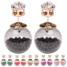 Women Fashion Jewelry Crystal Double Sided Pearl Earrings Ear Stud Ball ... - $15.90
