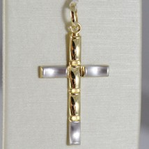 Cross Pendant Yellow Gold White 750 18K, Wavy, Satin, Made in Italy image 1