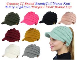 NEW! CC BeanieTail Warm Knit Messy High Bun VISOR CC Ponytail Beanie Cap - $14.01+