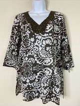 Chico's Womens Size 1 Brown Floral Pattern Tunic V Neck 3/4 Sleeve - $18.22