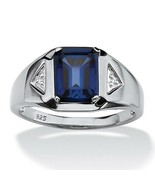 Men's 2.75 TCW Sapphire Platinum over .925 Silver Ring - $87.82