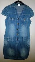 VENUS Ladies Sz XS Stretch Denim Blue Jean Mini-Skirt Shirt Dress Button... - $14.54