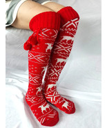 Women Christmas Elk Tube Stocking Woolen Socks Casual Knee Socks - £14.50 GBP