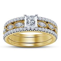 3Pcs Engagement Ring Set 14K Yellow Gold Finish 925 Silver Princess Cut White CZ - $126.50