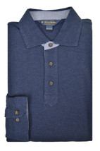 Brooks Brothers Blue Heather Chambray Long Sleeve Polo Shirt Medium M 3437-7 - $99.30