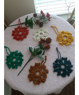 Handcrafted Macrame   Christmas Ornaments   Snowflakes   Holiday Ornaments  - $8.95