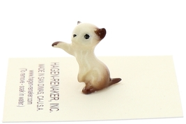 Hagen-Renaker Miniature Cat Figurine Tiny Siamese Kitten Boxing Chocolate Point