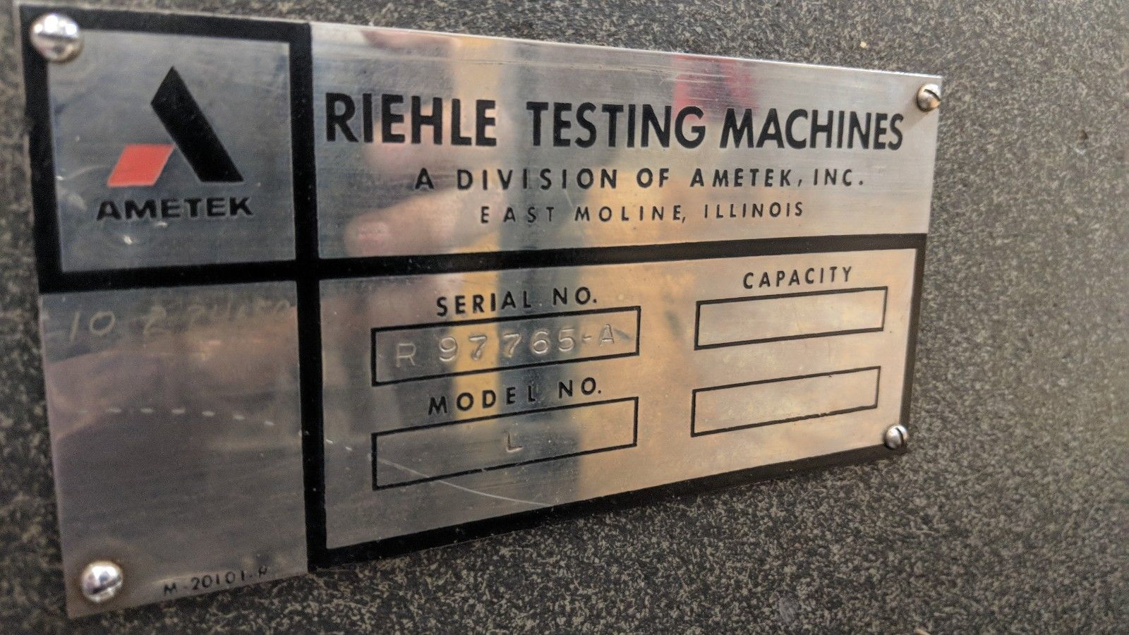 AMETEK RIEHLE Model L Hydraulic Brinell Hardness Tester