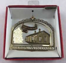 Nations Treasures Sharon Wisconsin Train Depot Brass Metal Souvenir Ornament - $15.00