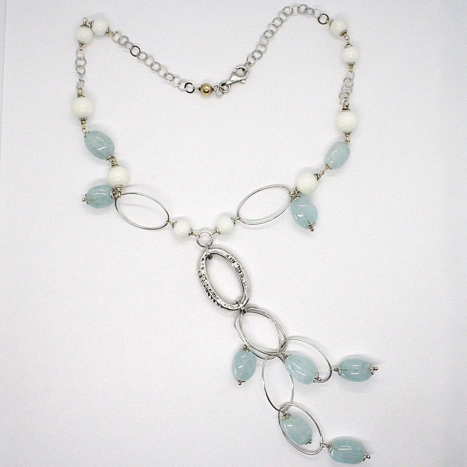 Necklace Silver 925, Spheres Agate White, Aquamarine Drop, Pendant, Ovals