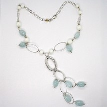 Necklace Silver 925, Spheres Agate White, Aquamarine Drop, Pendant, Ovals image 1