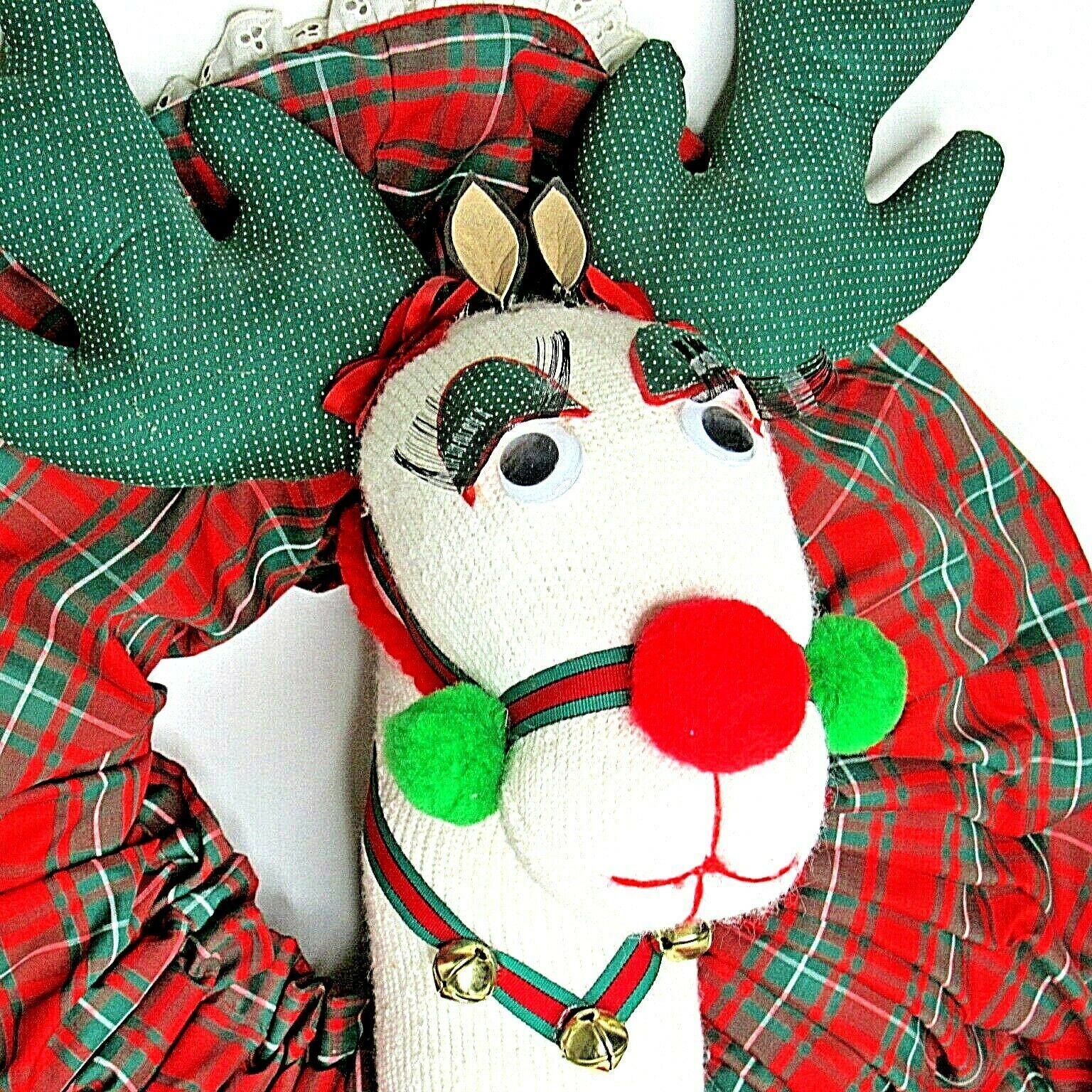 Primary image for Christmas Wreath White Reindeer Long Eyelashes Handmade
