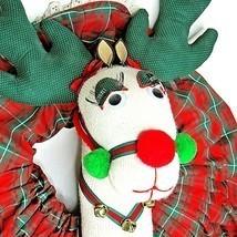 Christmas Wreath White Reindeer Long Eyelashes Handmade - $49.49