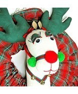 Christmas Wreath White Reindeer Long Eyelashes Handmade - $49.49