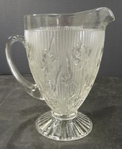 Antique Jeanette Glass Iris & Herringbone Water Pitcher - $28.49