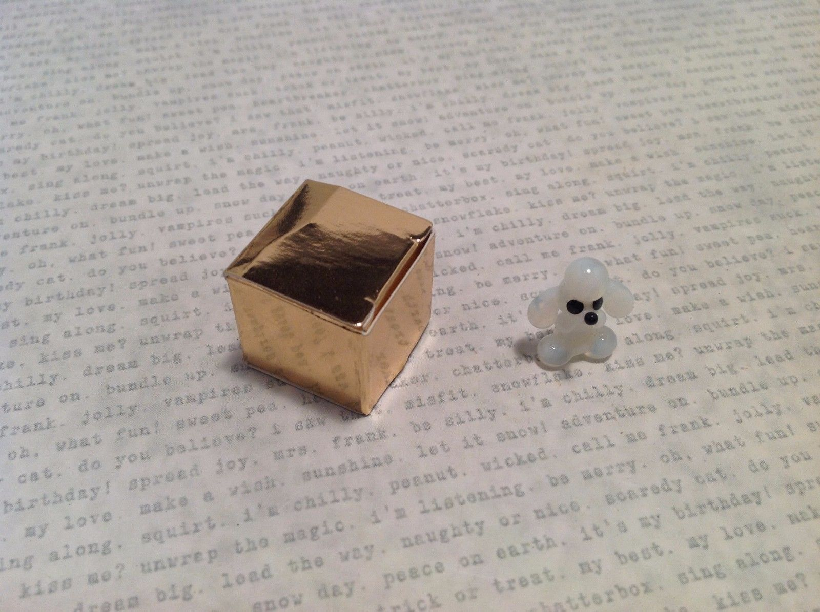 Micro Miniature Glass Animal White Poodle Handmade Blown Glass Collectible USA