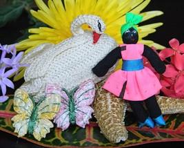 Vintage Handcrafted Crochet Swan Bird Handmade Caribbean Jamaican Doll - $10.95