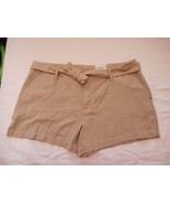 Women's Misses a.n.a. Tape Belted Twill Shorts Khaki Size 28/6 NEW  - $21.77