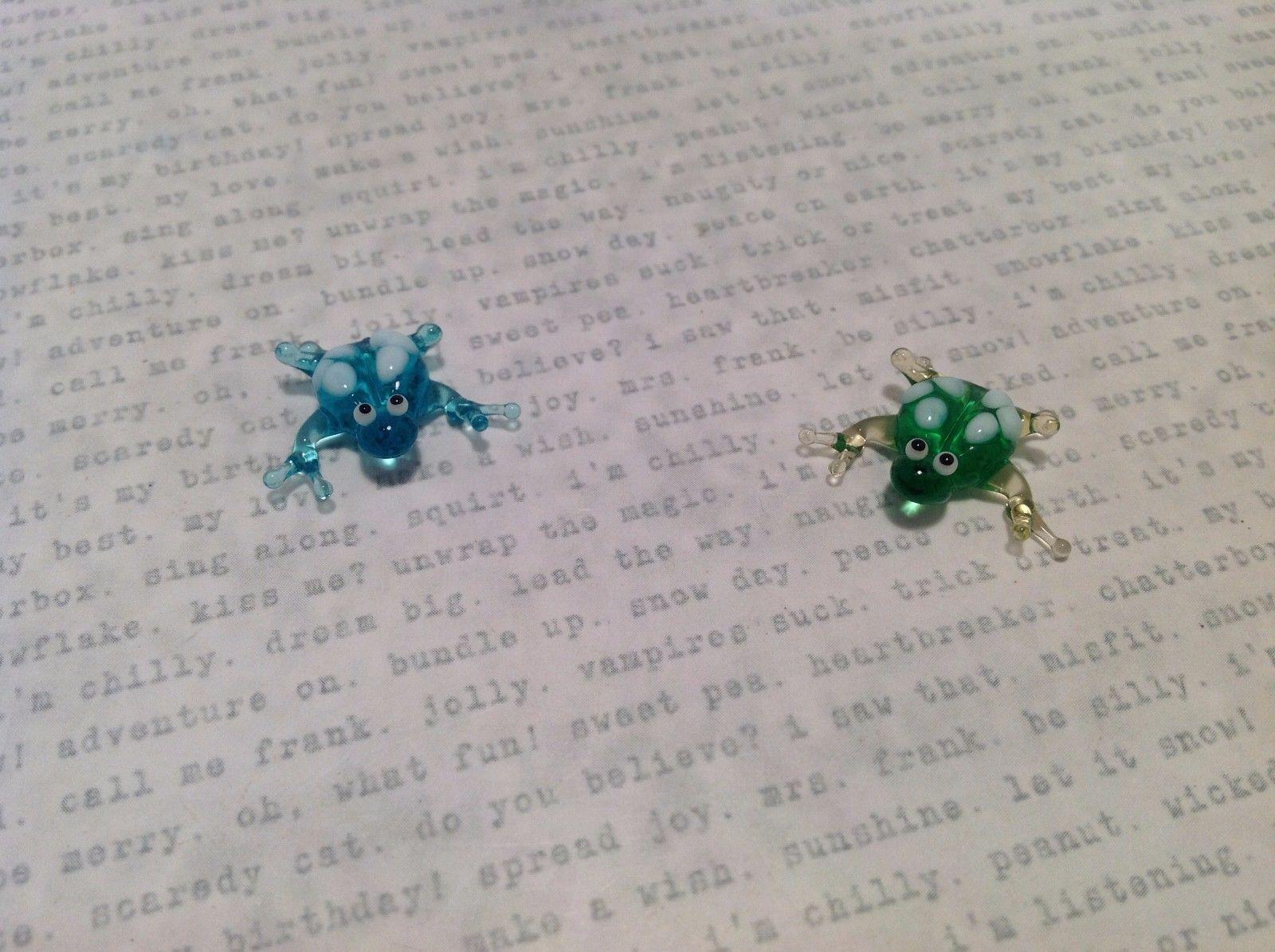 Micro Miniature Glass Animal Frogs Handmade Blown Glass Collectible USA