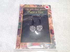 Silver Tone Dangling Fashion Earrings Plant A Tree Pewter Made in Canada