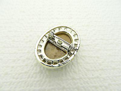 VTG Gold Tone Oval Shape & Glass Tiger's Eye Pin Brooch