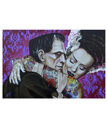Undying Love Monster Frankenstein & Bride Fine Art Print Lithograph by M... - $23.00+