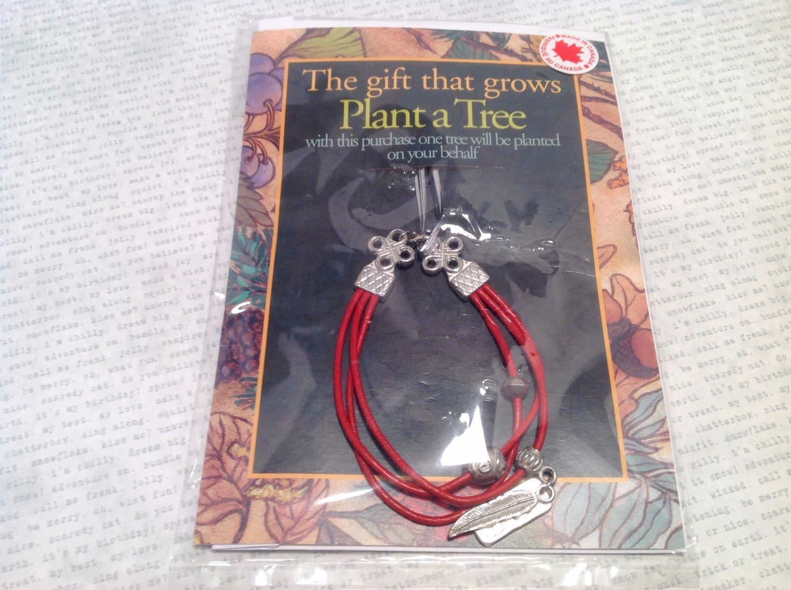 Silver Tone Red Leathers and Pewter Fashion Bracelet Plant Tree Believe Micacles