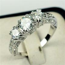 Wedding Bride 18K Gold Platinum Plated Cubic Zirconia Ring Engagement US... - $209,74 MXN