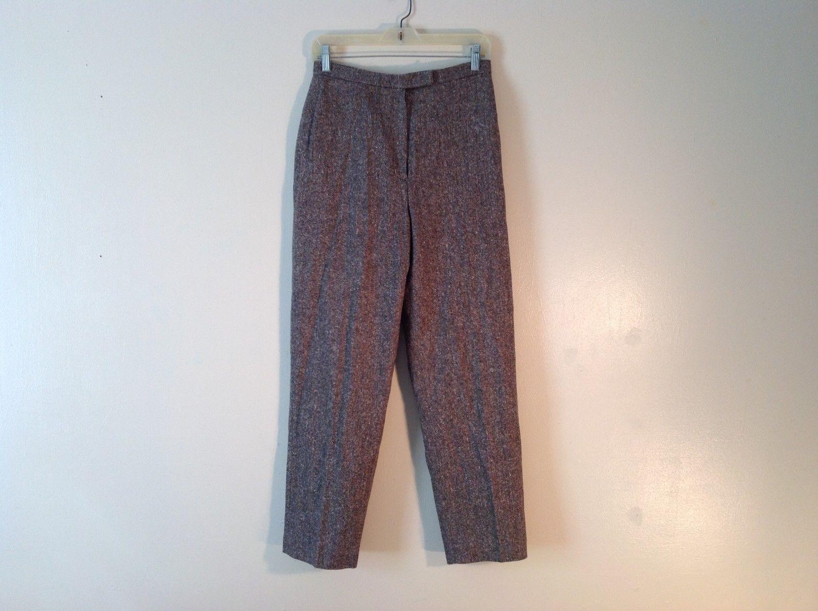 Ladies Charter Club Petite Brown Tweed Pants Size 8P