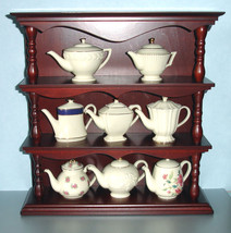 Lenox 8 Piece Assorted Miniature Teapot Set & Wood Display Shelf New Rare! - $218.90