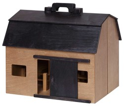 LARGE TOY WOOD BARN Complete w/ Farm Animals & Fence - Amish Handmade in... - $277.31