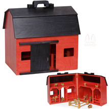 Large Toy Wood Red Barn Complete With Farm Animals & Fence - Amish Handmade Usa - $296.97