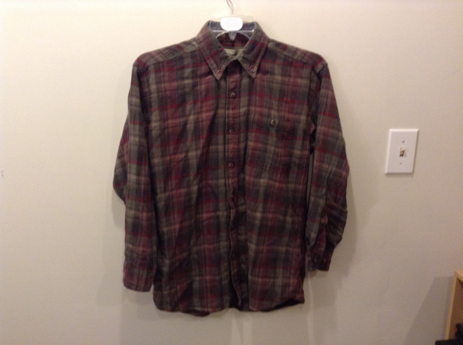 Bit & Bridle Relaxed Collared Button Up Flannel Shirt 100% Cotton Size M