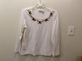 CHICO'S 100% Cotton White Long Sleeve Shirt w/ Embroidered Neckline Size 3