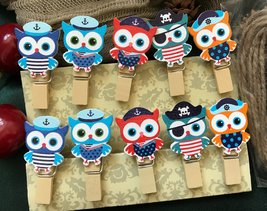 30pcs Owl Photo Paper Clips with Hemp Rope,Pin Clothespin,wooden clothespin - $3.20+