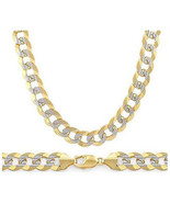 9mm Cuban Curb Sterling Silver 14k Yellow Gold Men's Link Italian Chain ... - $157.36+