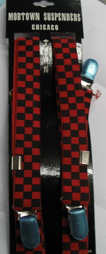 Black and Red Checkered SUSPENDERS