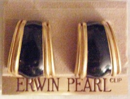 Erwin Pearl NOC Gold-Tone Onyx? Earrings Clip-ons - $19.95