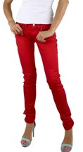 BRAND NEW LEVI'S 524 WOMEN'S SKINNY LOW RISE DENIM STUD JEANS RED 113940007